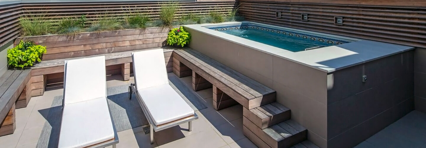 Deck swimming pools, above or in-ground lap pools